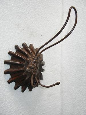 Old Iron Made Shape Hook, Wood Carved Base 2