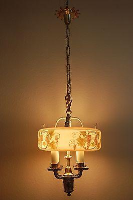 Art Deco Lightolier Grape Cluster Chandelier Pendant 5