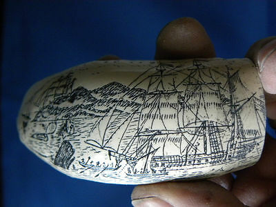 """Scrimshaw Resin Replica Sperm Whale Tooth  """" The Ship Lion"""""""