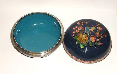 Large Royal Blue Cloisonne Ginbari Floral Bird Design Enamel Trinket Box