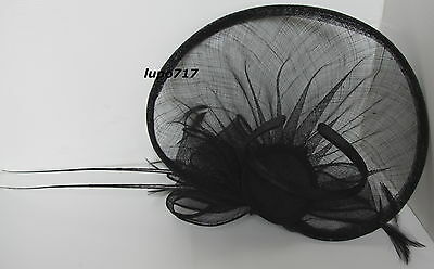 Black Hat Sinamay Feather Quill Fascinator Wedding Ascot Race Hen Party New 9