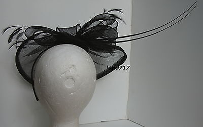 Black Hat Sinamay Feather Quill Fascinator Wedding Ascot Race Hen Party New 4