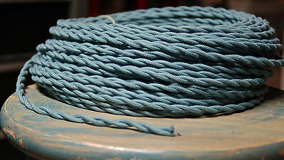 8' Twisted Cloth Covered Wire & Plug, Vintage Light Rewire Kit, Lamp Cord, rayon 10