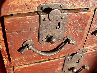1615-1868 Japanese EDO Period TANSO CALLIGRAPHER's DESK CHEST w Lid & 3 Drawers 4
