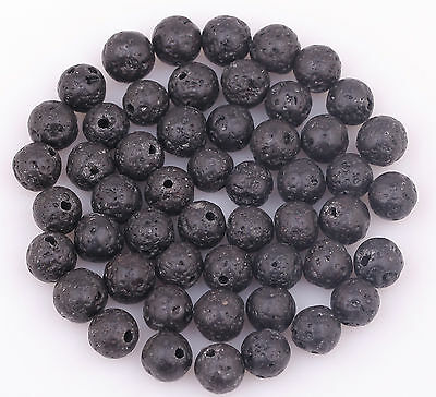 Wholesale Natural Black Volcanic Lava Gemstone Round Beads 4/6/8/10/12/14mm 7