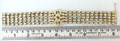Vintage Antique 20K Gold Diamond Polki Kundan Enamel Work Bracelet Bangle India