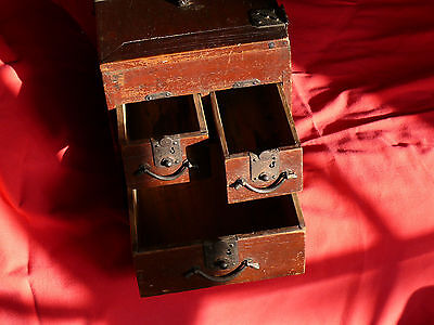 1615-1868 Japanese EDO Period TANSO CALLIGRAPHER's DESK CHEST w Lid & 3 Drawers 3