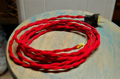 8' Twisted Cloth Covered Wire & Plug, Vintage Light Rewire Kit, Lamp Cord, rayon 12