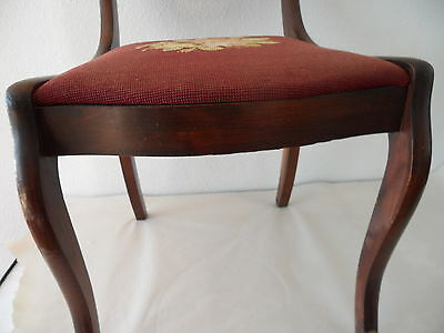 Antique Needle Point Chair with Carved Eagle on Back 6