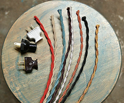 8' Twisted Cloth Covered Wire & Plug, Vintage Light Rewire Kit, Lamp Cord, rayon 6