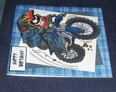 HANDMADE GREETING CARD 3D With A Dirt Bike Rider 599 PicClick