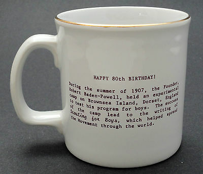Coffee Mug Boy Scout Scouting 80 years 1907 -1987 Anniv England Creemore Canada