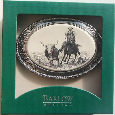 Belt Buckle Barlow Scrimshaw Carved Painted Indian on Horse Traditional 590413