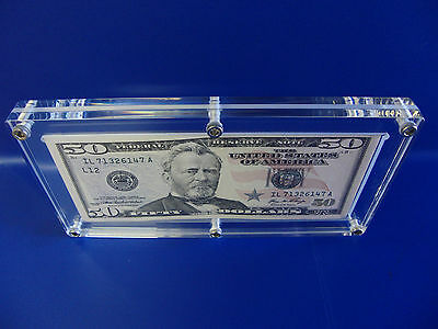Acrylic Single Bank Note Frame Plastic Money Holder Currency Display Dollar Case 2
