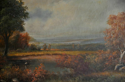 Large American landscape early 20th century Oil on Canvas