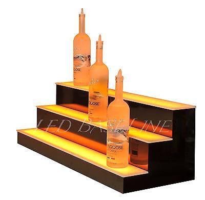 """28"""" LED LIGHTED BAR SHELF, Three Step Liquor Bottle Glorifier, Back Bar Shelving 2"""
