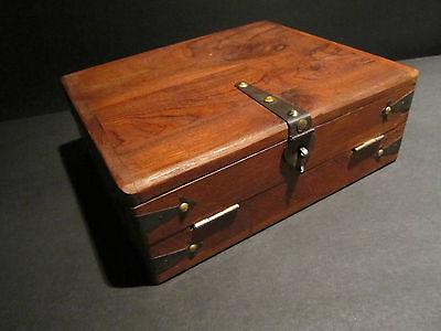 Antique Vintage Style Folding Document Writing Slope Lap Desk Campaign Box 4