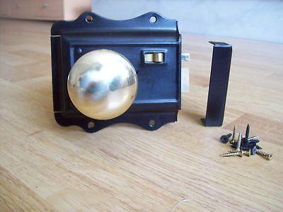Old Victorian Style Solid Brass Black Door Rim Lock Knob Set 2