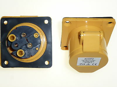 16 amp 3 pin yellow panel mount socket outlet transformer power tools 110 volt