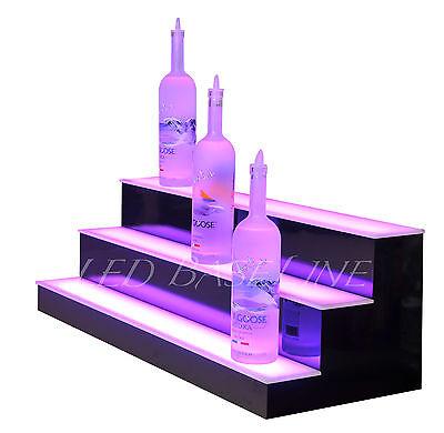 """28"""" LED LIGHTED BAR SHELF, Three Step Liquor Bottle Glorifier, Back Bar Shelving 4"""