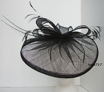 Black Hat Sinamay Feather Quill Fascinator Wedding Ascot Race Hen Party New 5