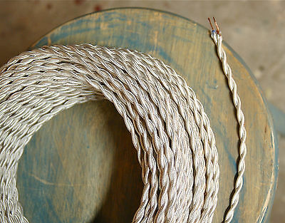 8' Twisted Cloth Covered Wire & Plug, Vintage Light Rewire Kit, Lamp Cord, rayon 9