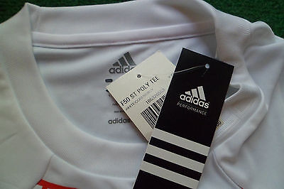 NEW ADIDAS MENS F50 CLIMALITE POLY TEE SOCCER FOOTBALL JERSEY SIZE SMALL WHITE