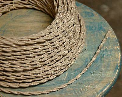 8' Twisted Cloth Covered Wire & Plug, Vintage Light Rewire Kit, Lamp Cord, rayon 11