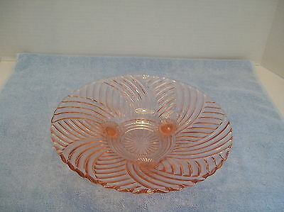 Vintage Pink Glass Footed Serving Dish Plate 4