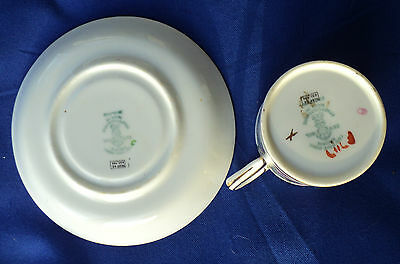 CROWN STAFFORDSHIRE F7117 ROSES & BLOSSOMS DEMITASSE CUP & SAUCER Reg No. 622735