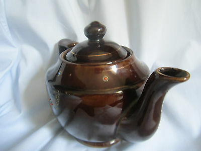 Brown  Teapot With Embossed Floral Decoration Made In Japan