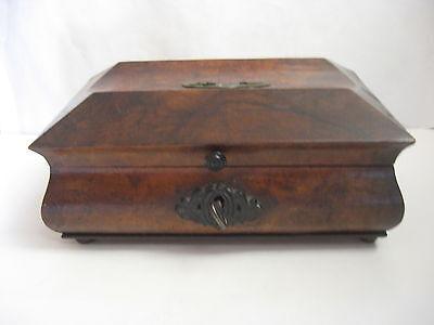 Rare Antique Civil War / Empire Period Jewelry Document Box-Gutta Percha-Burl