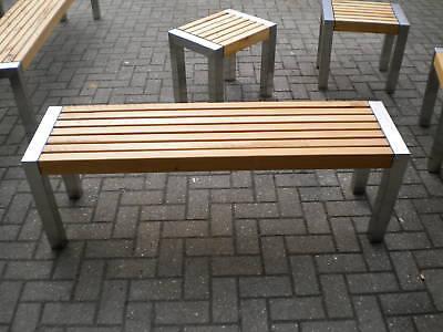 Gartenmöbel Edelstahl Holz Bank Gartenbank 37x200cm