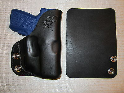 KAHR PM9 & CM9 WITH CRIMSON TRACE lase, leather, R H, wallet or pocket holster