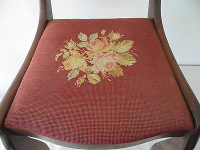 Antique Needle Point Chair with Carved Eagle on Back 4