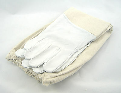 Beekeeping White Round Veil  Suit Gloves Set - Choose Your Size