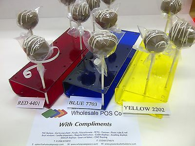 Acrylic Cake Pop Stand Clear Or Coloured Perspex 11 Hole Push Pop Display
