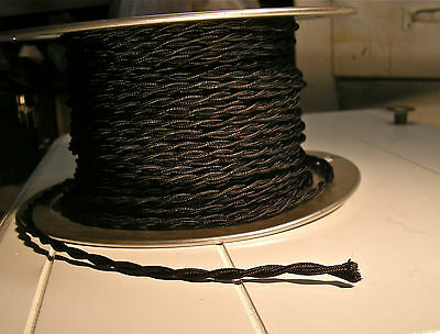 8' Twisted Cloth Covered Wire & Plug, Vintage Light Rewire Kit, Lamp Cord, rayon 7
