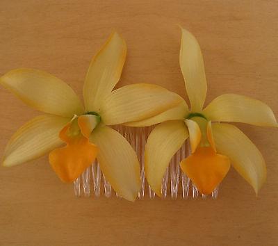 "3 1//2/"" Yellow Lemon /& Orange Orchid Silk Flower Hair Clip,Luau,Prom,Wedding"