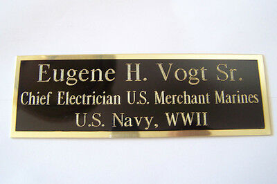 Engraved Nameplate Custom Plaques  Display Cases *blackbrass Not Aluminum* 4