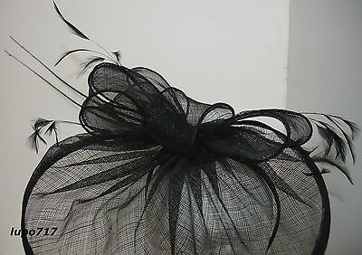 Black Hat Sinamay Feather Quill Fascinator Wedding Ascot Race Hen Party New 6