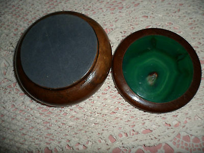 VINTAGE TURNED WOOD WOODEN TRINKET BOX with GREEN AGATE SLICE GEM STONE TOP