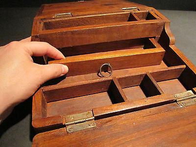 Antique Vintage Style Folding Document Writing Slope Lap Desk Campaign Box 3