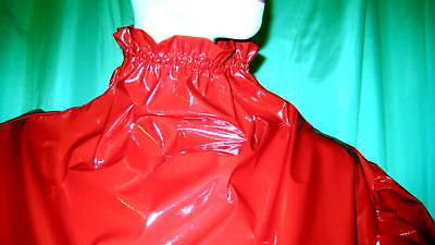Lackkleid lang enger Kragen Zofe Rüschenärmel Vinyldress Narrow high Collar Maid 9