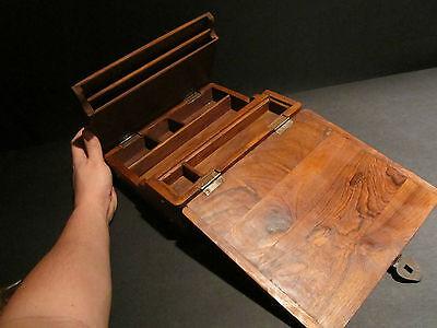 Antique Vintage Style Folding Document Writing Slope Lap Desk Campaign Box 10
