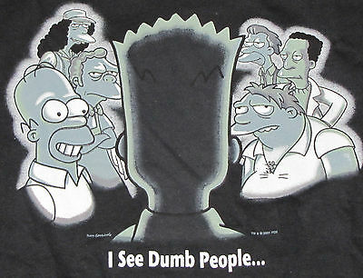 259218c51 ... The Simpsons Mens Graphic T-Shirt Small Sixth Sense Bart I See Dumb  People Homer