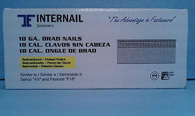 "1"" Inch 18 Gauge Galvanized Finish Brad Nails 5,000 Count"