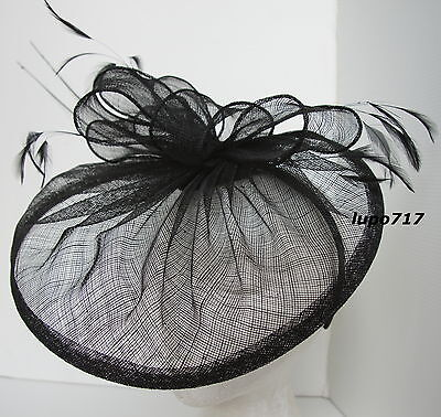 Black Hat Sinamay Feather Quill Fascinator Wedding Ascot Race Hen Party New 2
