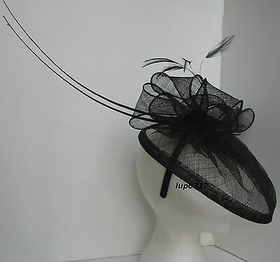 Black Hat Sinamay Feather Quill Fascinator Wedding Ascot Race Hen Party New 3