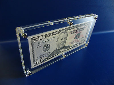 Acrylic Single Bank Note Frame Plastic Money Holder Currency Display Dollar Case 6
